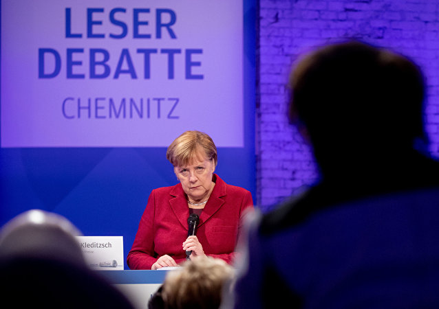German Chancellor Angela Merkel speaks during the meeting with readers of 'Freie Presse' newspaper in Chemnitz