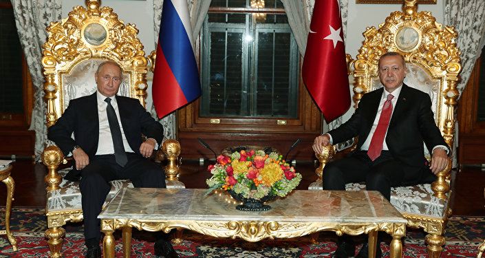 November 19, 2018. Russian President Vladimir Putin and Turkish President Recep Tayyip Erdogan, attending the ceremony marking the completion of the Turkish Stream pipeline marine section