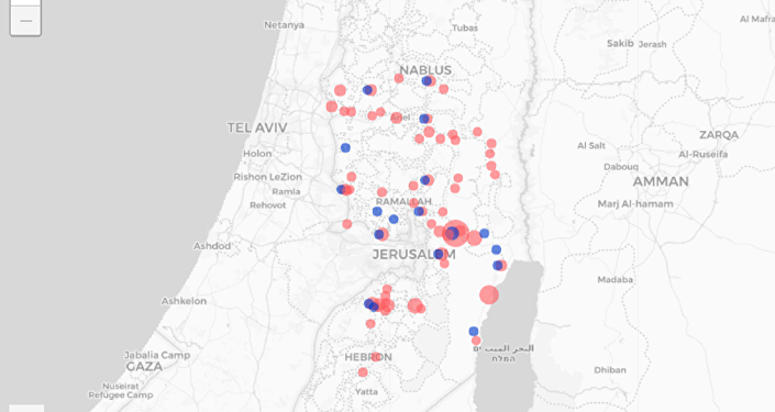 Human Rights Watch map shows former Airbnb rentals in the illegally occupied West Bank with red dots, blue dots to signify current rentals on Booking.com.