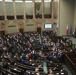 Una protesta de la oposición en el Parlamento de Polonia