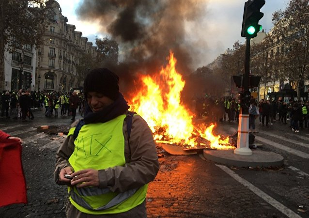 Yellow Vests protests against the rise in fuel prices in the French capital of Paris. File photo