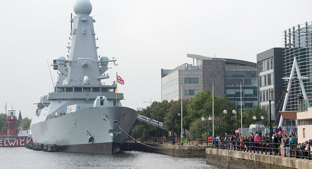 NATO warship HMS Duncan docked at Cardiff Bay ahead of the UK based NATO summit, in Cardiff, Wales, Wednesday, Sept. 3, 2014
