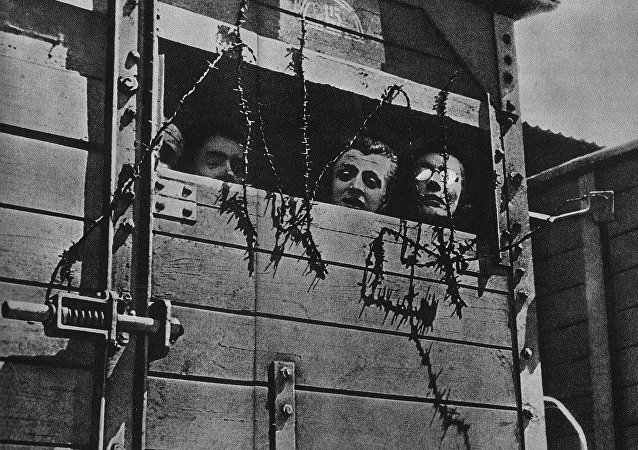 Jews in a railway car in the way to the nazi death camp during the Second World War in Europe a the time of the Holocaust