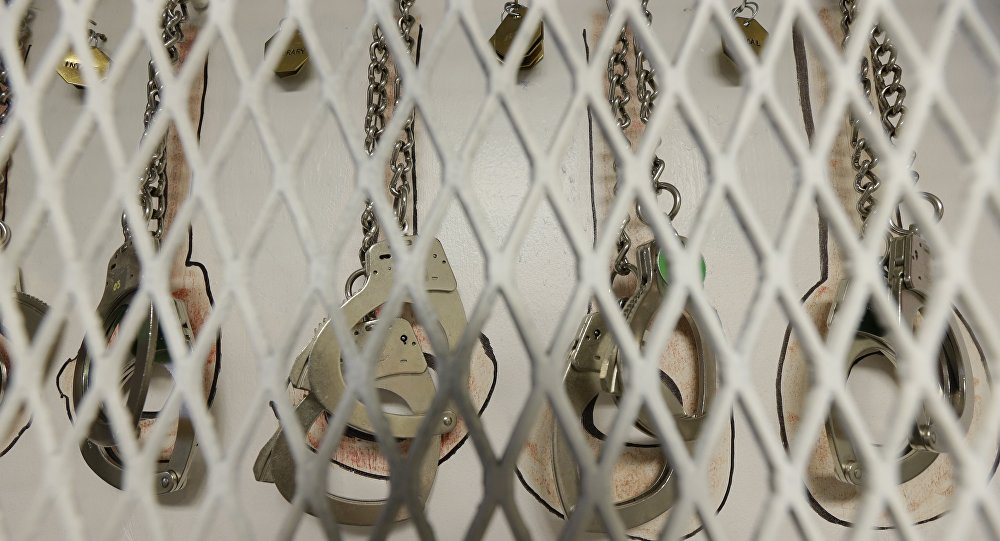 In this photo taken June 21, 2017, restraints are shown at the Northwest Detention Center in Tacoma, Wash., during a media tour
