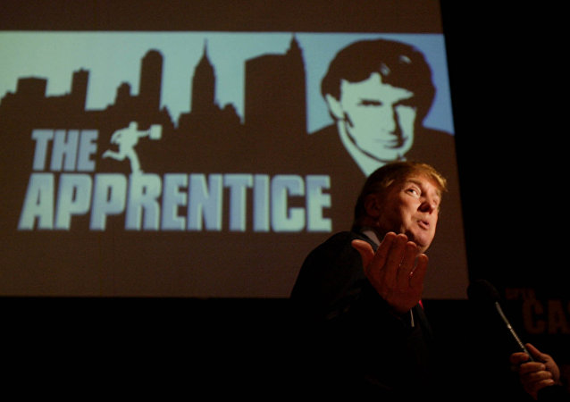 Donald Trump, seeking contestants for The Apprentice television show, is interviewed at Universal Studios Hollywood Friday, July 9, 2004, in the Universal City section of Los Angeles.