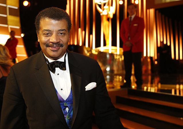 Neil deGrasse Tyson backstage at the Television Academy's Creative Arts Emmy Awards at Microsoft Theater on Saturday, Sept. 12, 2015, in Los Angeles