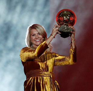 Soccer Football - 63rd Ballon d'Or - The Grand Palais, Paris, France - December 3, 2018 Olympique Lyonnais' Ada Hegerberg with the Women's Ballon d'Or award