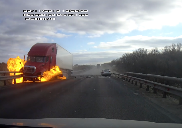 Freak Accident Causes Big Rig to Burst Into Flames in Russia's Voronezh
