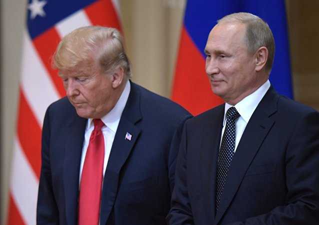 Vladimir Putin and Donald Trump in Helsinki. File photo