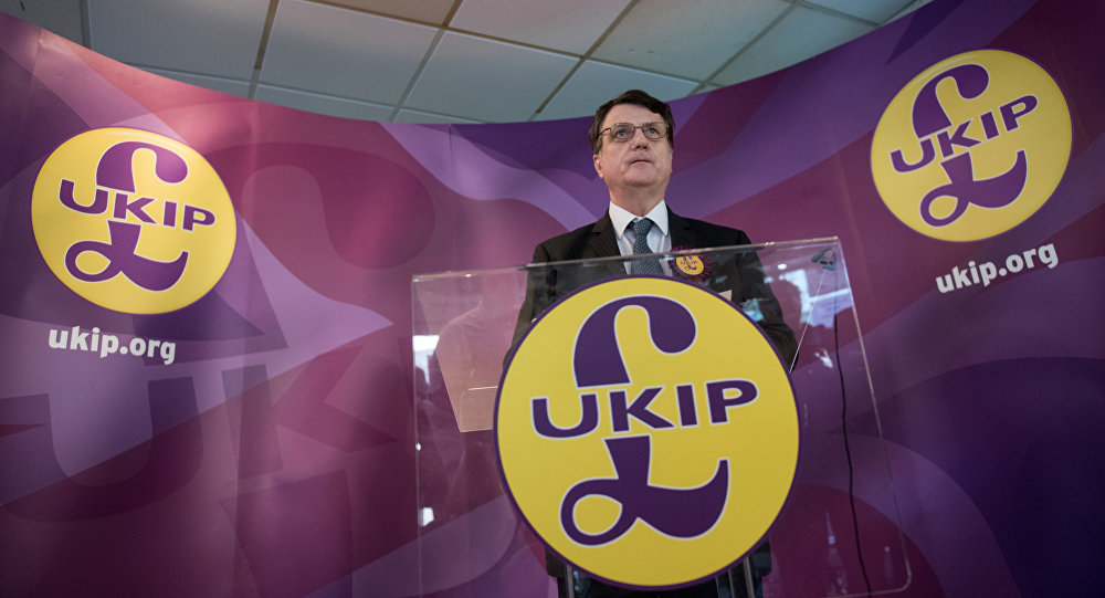 Then UKIP (UK Independence Party) Brexit spokesman and Member of the European Parliament for London (MEP), Gerard Batten, addresses members of the media at the party's by-election campaign headquarters in Stoke-on-Trent, central England on February 13, 2017.