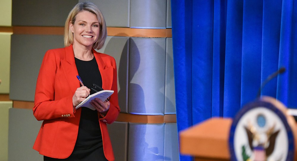 US State Department spokesperson Heather Nauert arrives for the release of the 2017 Annual Report on International Religious Freedom on May 29, 2018, in the Press Briefing Room at the US Department of State in Washington, DC. Mandel Ngan