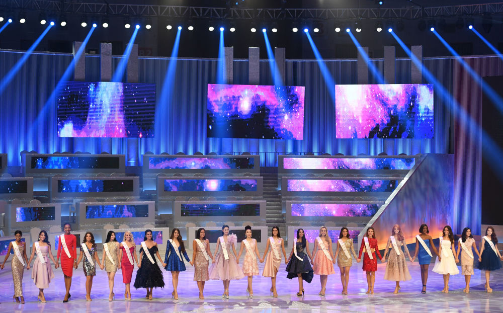 Contestants Stand on Stage During The Miss World 2018