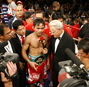 HBO's Larry Merchant interviews Manny Pacquiao after a fight