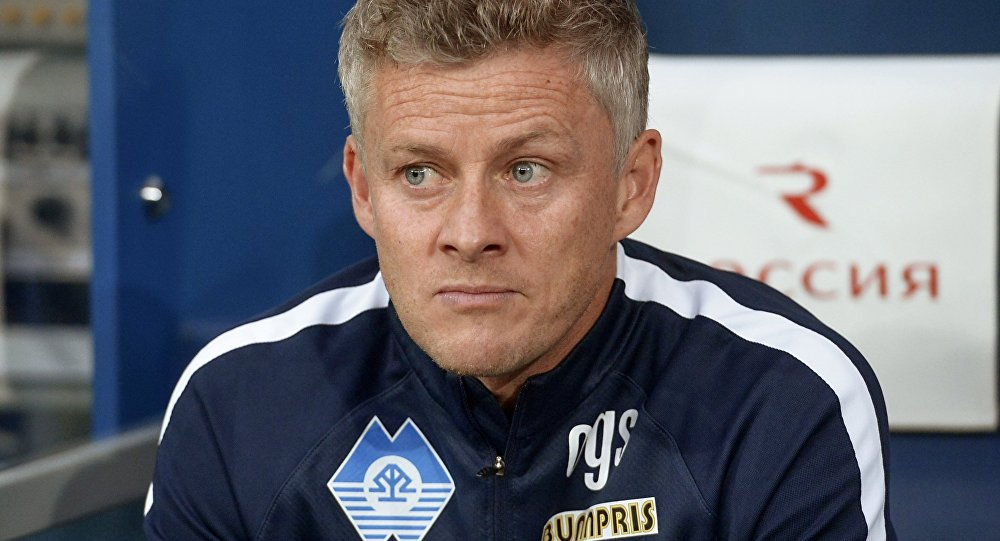 Ole Gunnar Solskjaer in the first match of the UEFA Europe League 2018/19 play-off stage between Zenit St. Petersburg and Molde (Norway)