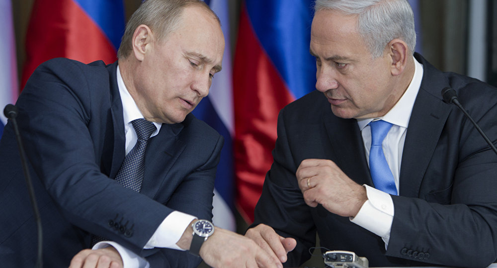Russian President Vladimir Putin, left, speaks with Israeli Prime Minister Benjamin Netanyahu as they prepare to deliver joint statements after their meeting and a lunch in the Israeli leader's Jerusalem residence, Monday, June 25, 2012