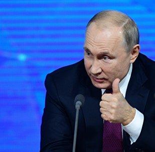Vladimir Putin at annual year-end presser