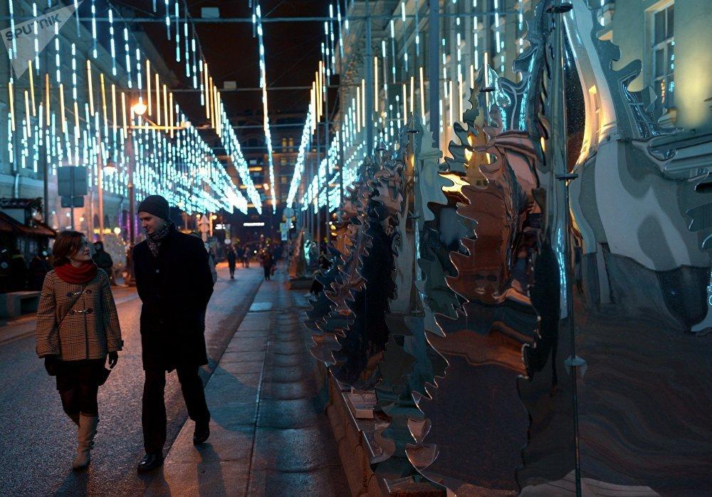 A mirror installation on Moscow's Bolshaya Dmitrovka Street
