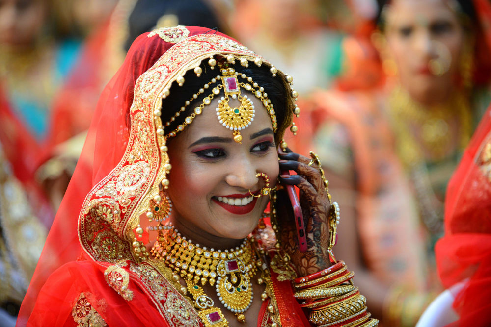 Brides During Mass Wedding Ceremony in India