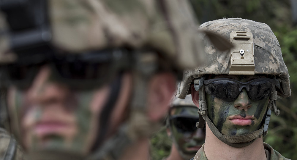 NATO soldiers of U.S. take part in a military exercise 'Saber Strike 2018' at the Training Range in Pabrade some 60km (38 miles) north of the capital Vilnius, Lithuania, Monday, June 11, 2018