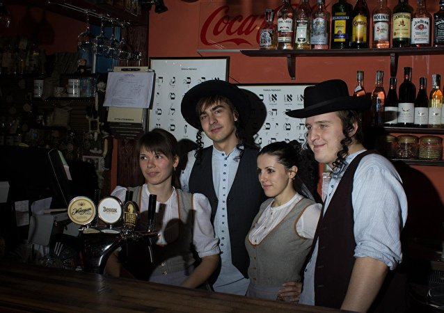 Workers at a restaurant in Lviv, Ukraine, dress up as cartoonish versions of Orthodox Jews.