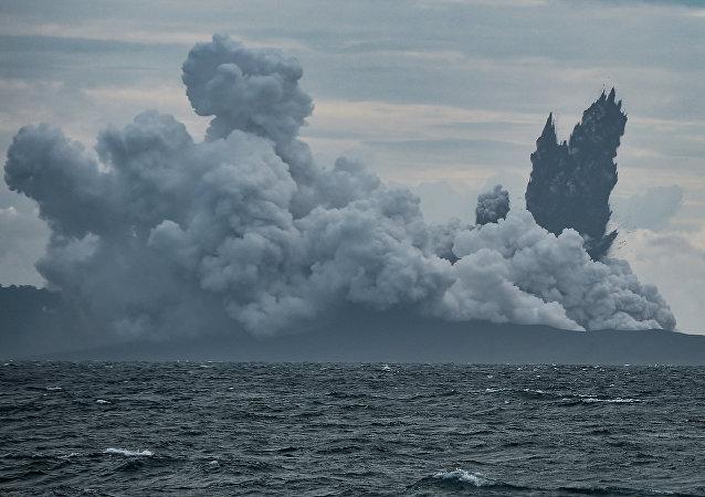 Mount Anak Krakatau volcano spews hot ash during an eruption as seen from Indonesian Naval Patrol Boat, KRI Torani 860, at Sunda strait in Banten, Indonesia, December 28, 2018