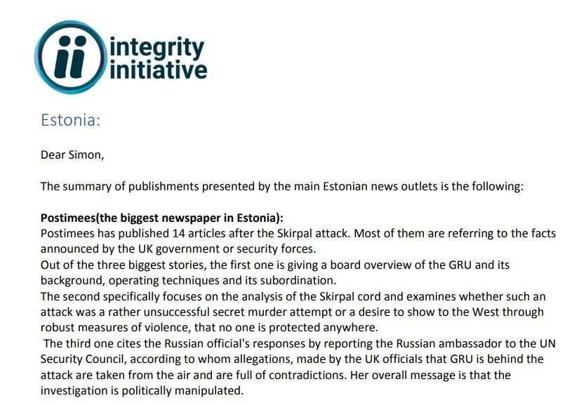 Integrity Initiative Seeks Intelligence On How Overseas Media Reported Skripal Incident