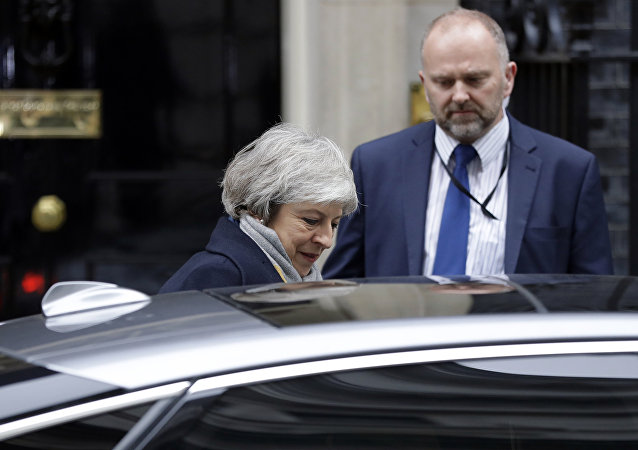 Britain's Prime Minister Theresa May leaves a cabinet meeting at Downing Street in London, Tuesday, Jan. 15, 2019.