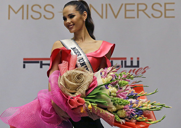 Miss Universe 2018 Catriona Gray from the Philippines poses during a press conference in metropolitan Manila, Philippines on Thursday, Dec. 20, 2018