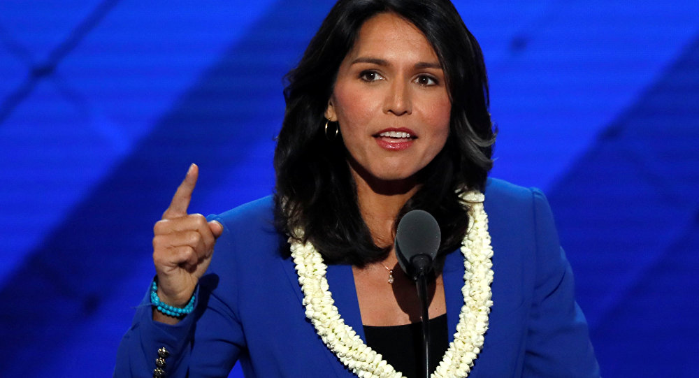 U.S. Representative Tulsi Gabbard (D-HI) delivers a nomination speech for Senator Bernie Sanders on the second day at the Democratic National Convention in Philadelphia, Pennsylvania, U.S. July 26, 2016