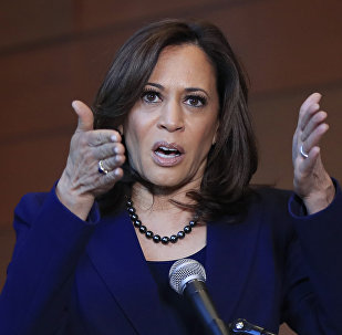 Democratic California Senator Kamala Harris, speaks to members of the media at her alma mater, Howard University, 21 January 2019 in Washington