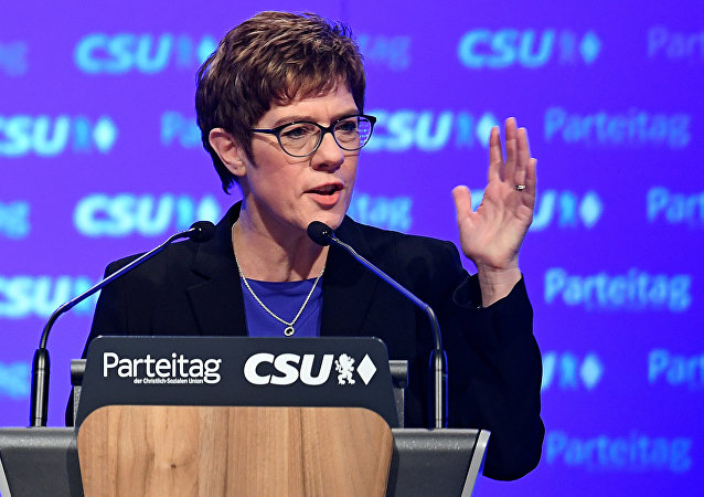 FILE PHOTO: Christian Democratic Union (CDU) party leader Annegret Kramp-Karrenbauer speaks at the Christian Social Union (CSU) party meeting in Munich, Germany, January 19, 2019