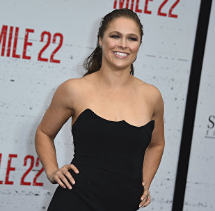 Ronda Rousey arrives at the Los Angeles premiere of Mile 22 on Thursday, Aug. 9, 2018, in Los Angeles