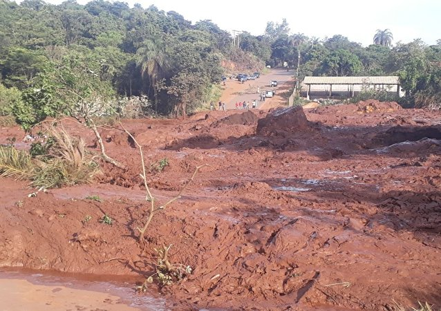 The aftermath of a dam collapse at an iron ore mine owned by Vale SA in Brazil.