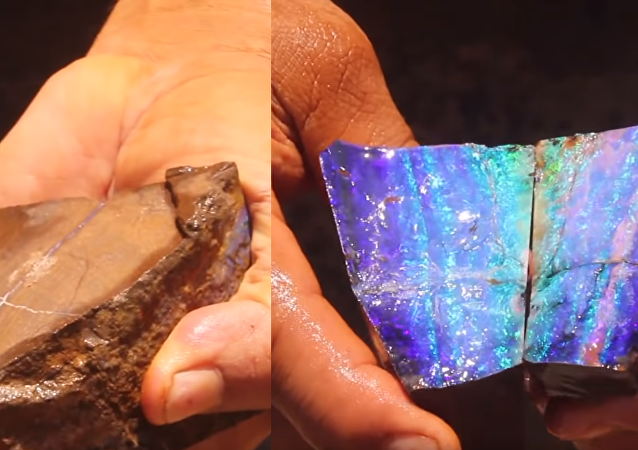 Australian Opal Miner Exposes Natural Beauty Hidden in Boulder