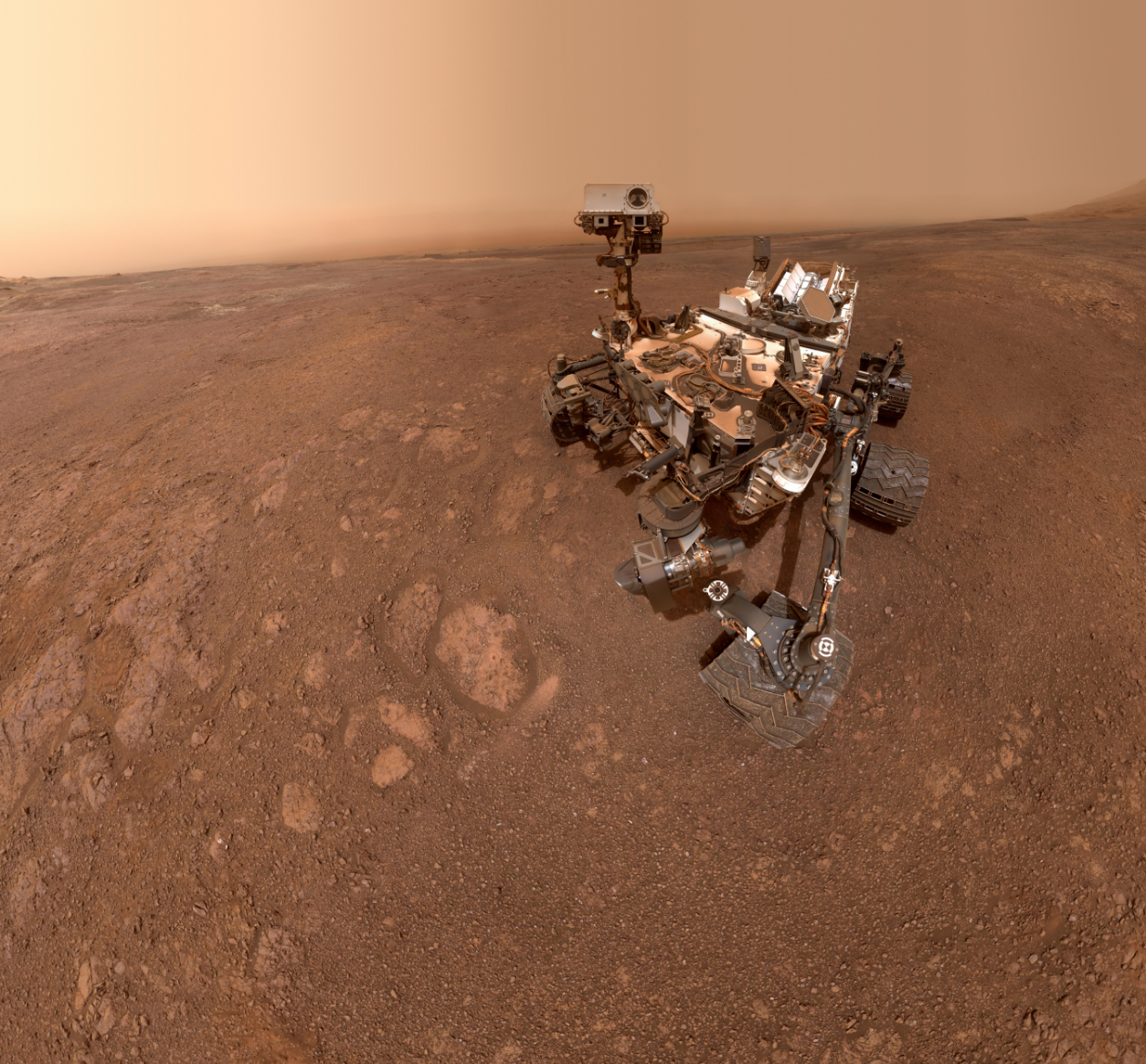 A selfie taken by NASA's Curiosity Mars rover on Sol 2291 (January 15) at the Rock Hall drill site, located on Vera Rubin Ridge.
