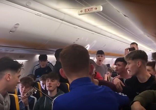 St Brendans College trad session on Ryanair flight