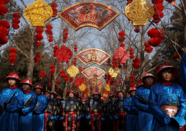 Performers rehearse a re-enactment of a Chinese New Year Qing Dynasty ceremony at the Temple of Earth in Ditan Park in Beijing, China, February 4, 2019