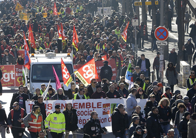Unionists form the CGT (General Working Confederation) march in Marseille, southern France, Tuesday, Feb. 5, 2019