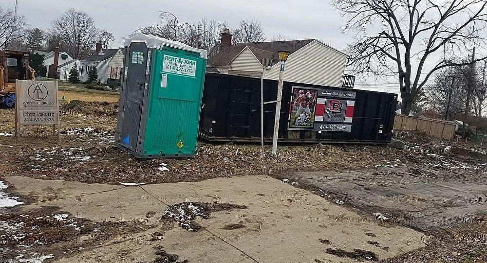 A Rent-a-John portable toilet in Arlington, Ohio