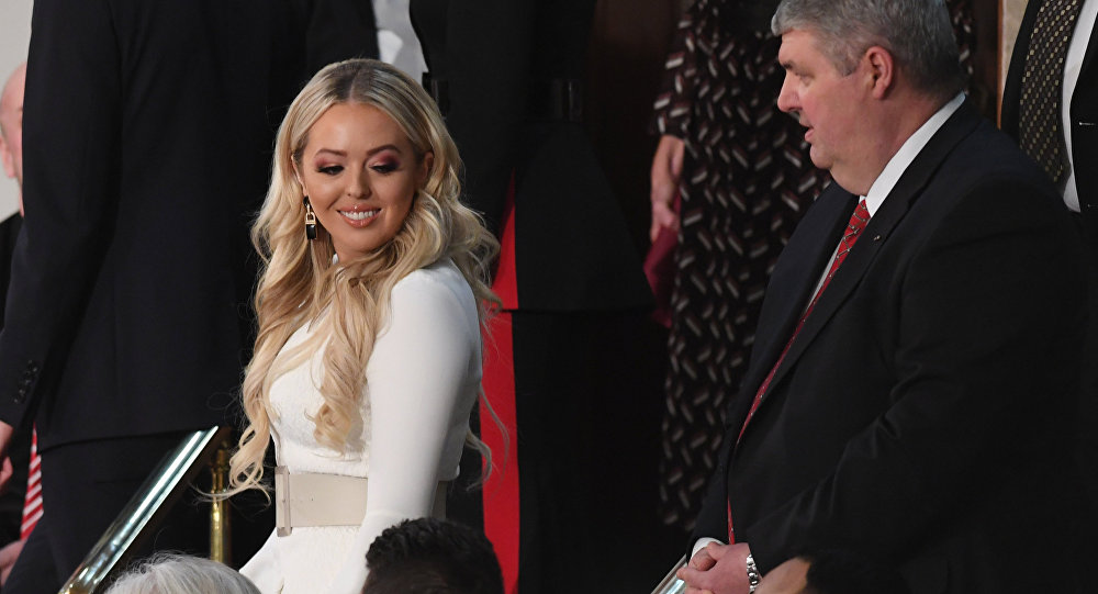 Tiffany Trump arrives to attend the State of the Union address at the US Capitol in Washington, DC, on February 5, 2019.