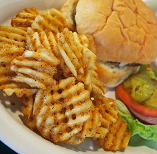 Burger plate with waffle fries