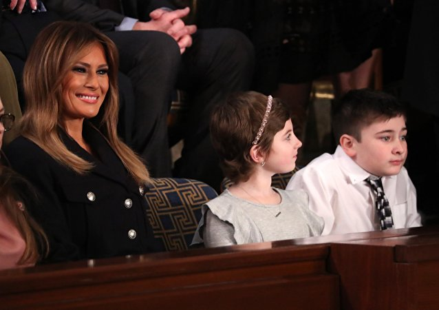 First lady Melania Trump sits with guests ahead of U.S. President Trump's second State of the Union address to a joint session of the U.S. Congress in Washington