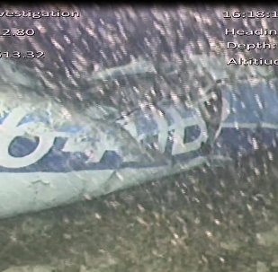 In this image released Monday Feb. 4, 2019, by the UK Air Accidents Investigation Branch (AAIB) showing the rear left side of the fuselage including part of the aircraft registration N264DB that went missing carrying soccer player Emiliano Sala, when it disappeared from radar contact on Jan. 21 2019.