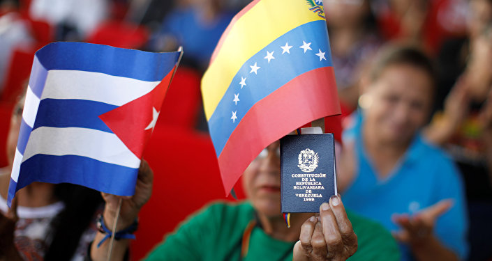 A supporter of Venezuela's President Nicolas Maduro holding a copy of the Venezuelan constitution and flags of Venezuela and Cuba, takes part in a gathering in support of his government outside the Miraflores Palace in Caracas, Venezuela January 26, 2019