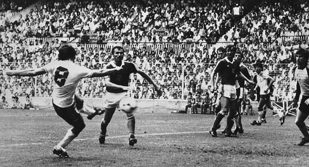 Trevor Francis scores for England against Czechoslovakia during the 1982 World Cup in Spain