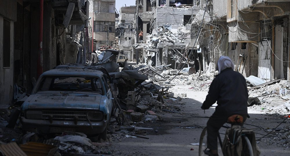 The city of Douma near Damascus after liberation from terrorists