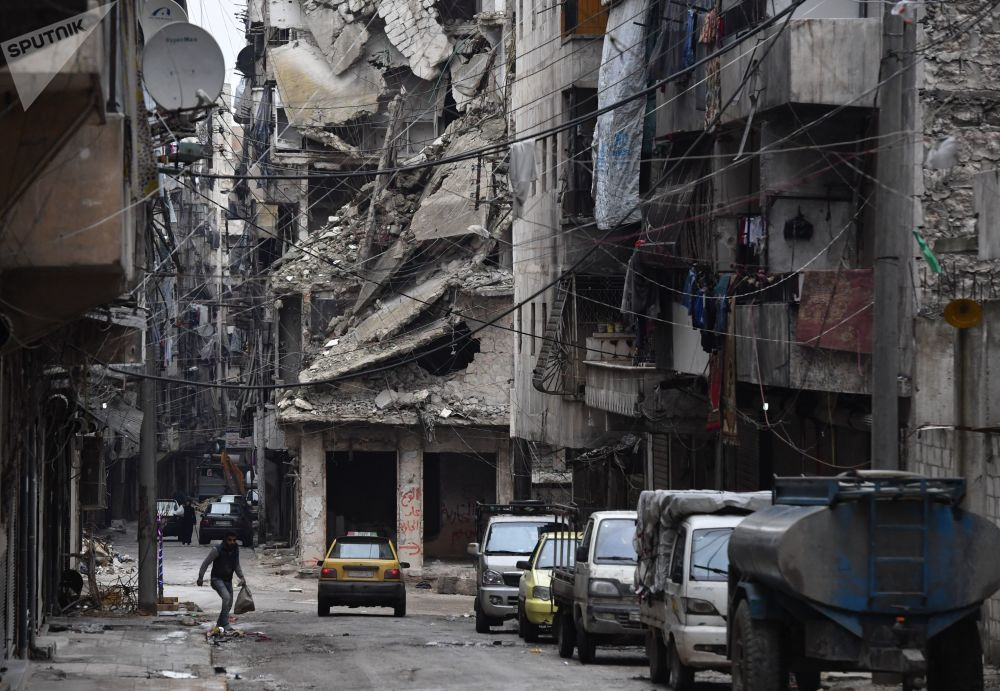 Ruined District of Syria's Aleppo