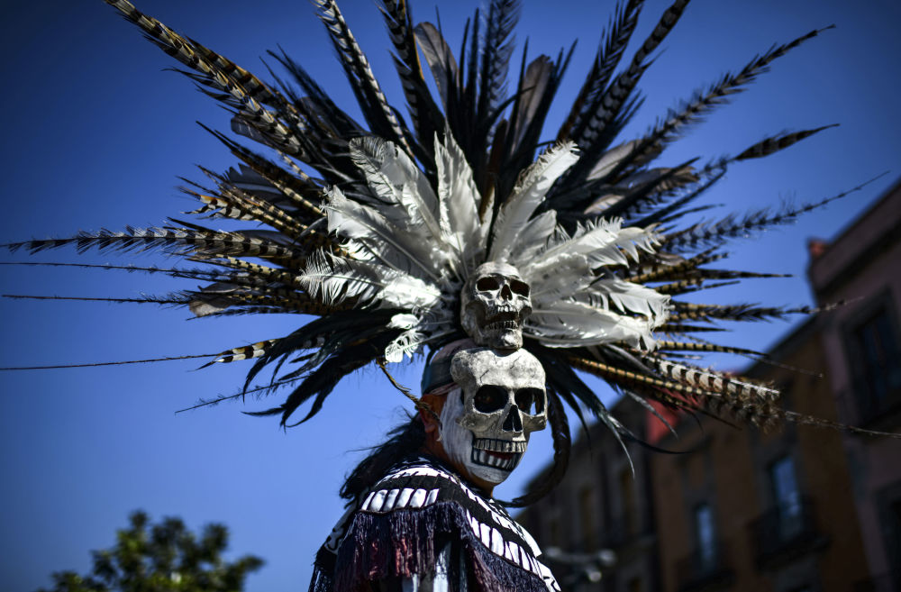 Mexican Indigenous Man Takes Part in a Ceremony of Purification on Zocalo Square