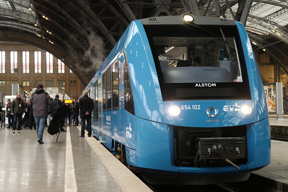 A hydrogen-powered train, built by Alstom, at Leipzig station in Germany