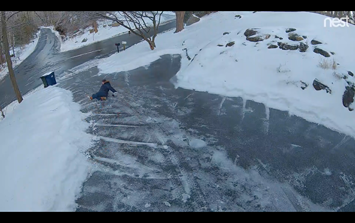 Salty Surprise: Homeowner Slips and Slides Down Driveway